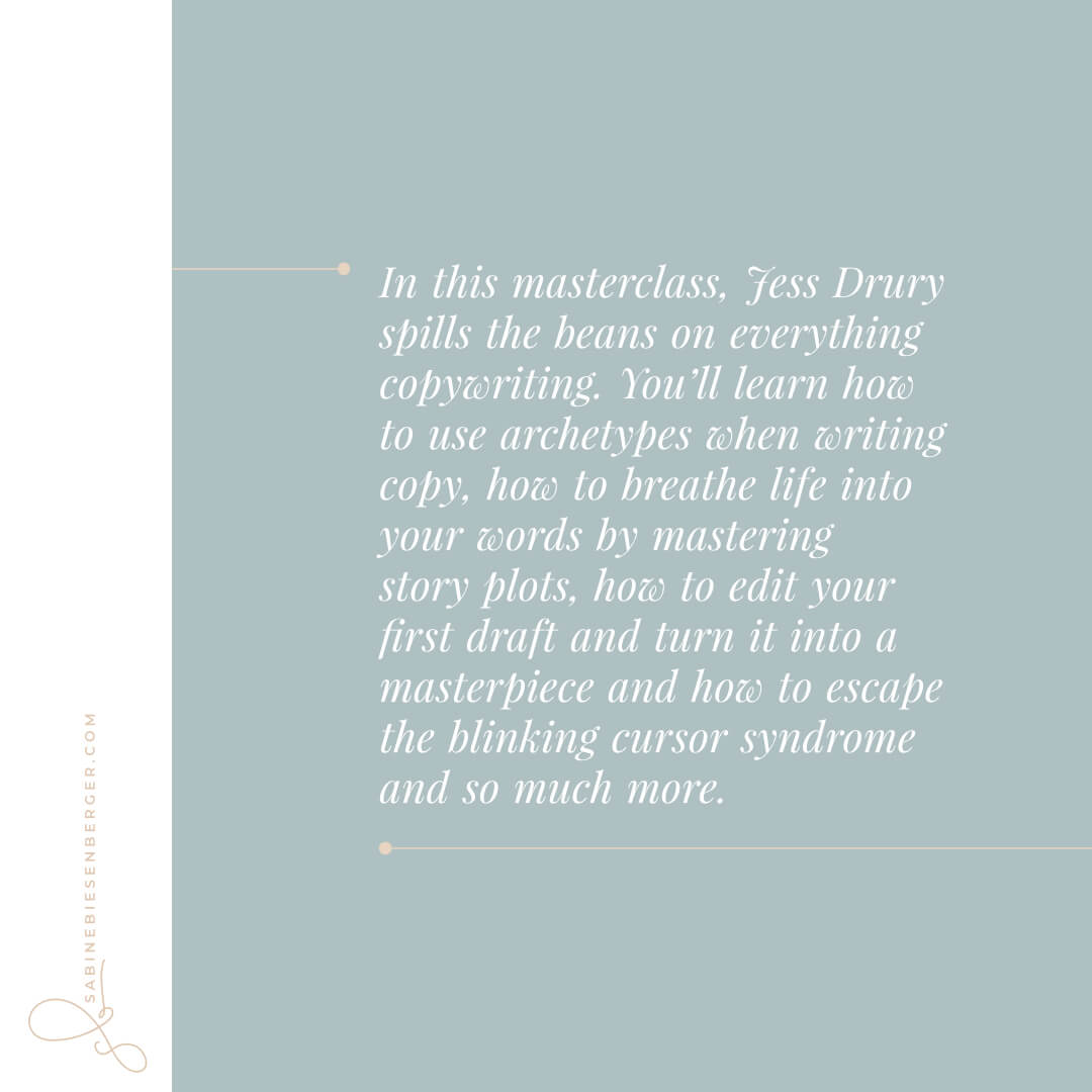 In this masterclass, Jess Drury spills the beans on everything copywriting. You'll learn how to use archetypes when writing copy, how to breathe life into your words by mastering story plots, how to edit your first draft and turn it into a masterpiece and how to escape the blinking cursor syndrome and so much more. (Image: QuoteCard)